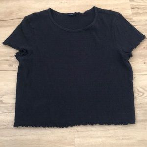 American Eagle Black Tee with Ruffle Detail